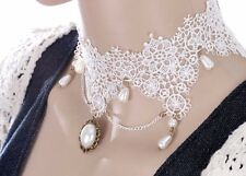 BEAUTIFUL WIDE WHITE LACE GOTHIC VICTORIANA PEARL DROPS CHOKER  - UK SELLER