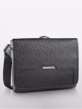 NWT Calvin Klein Mens Coated Logo City Messenger Bag in Black