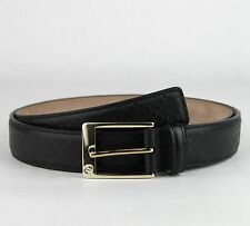 Gucci Men's Black Diamante Pattern Leather Belt w/gold Buckle 100/40 345658 1000