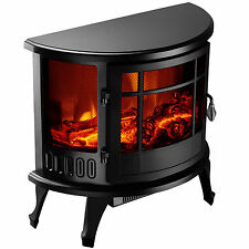 """Heater 23"""" Standing 1500W Electric Fireplace Stove Realistic Flame Adjustable"""