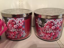 Total 2 Bath & Body Works Frosted Cranberry 14.5 OZ 3 Wick Candle