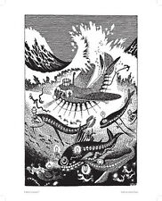 Moomin Poster Amphibious ship, Moomin Pappa exploits 24 x 30 cm Black and White