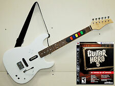 PS3 Guitar Hero 5 Game + NEW Full Size Wireless Controller Instrument REAL WOOD
