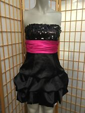 Speechless Black Strapless Sequence Prom Home Coming womens Cocktail Dress Siz 3