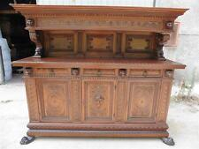 BEAUTIFUL CARVED ANTIQUE WALNUT ORIGINAL DINING ROOM SET SERVER - 15IT018B