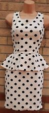 PARISIAN WHITE BLACK SPOTTY POLKA DOT PEPLUM TUBE BODYCON PENCIL BANDAGE DRESS 8