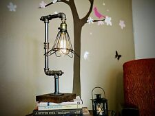Steampunk Retro Iron Piping Cage Minimalist Desk Table Lamp Dimmer Pipe Lighting