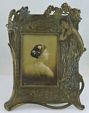 VINTAGE ART NOUVEAU PICTURE FRAME BRASS/BRONZE NYMPH OR GODDESS & FLOWERS