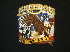Freedom Is Not Free American Flag Patriot Denison Texas POW MIA Black T Shirt L
