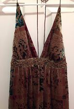 NICOLE MILLER COLLECTION VELVET BURNOUT BEADED SILK HALTER DRESS MID-CALF SZ 2