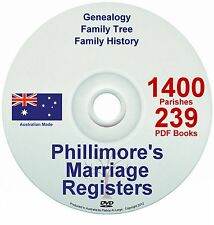 Family History Tree Genealogy England Phillimore Marriages Registers Records DVD