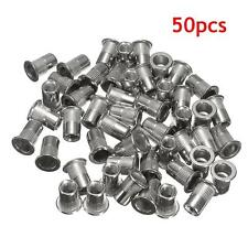 50X 6mm M6 Thread 304 Stainless Steel Flat Head Rivet Nut Rivnut Insert Nutsert
