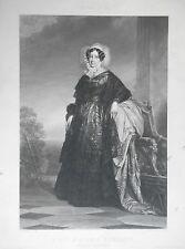 Gravure sur Acier XIXème - Château d'Eu - Madame Adélaïde Princesse d'Orléans