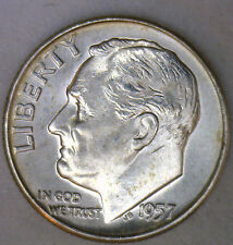 1957 D Silver Uncirculated Bu Roosevelt Dime Ten Cent Coin from Nice 10c Roll #R