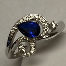 Beautiful 2ct Blue White Sapphire 925 Solid Sterling Silver Solitaire Ring sz 6