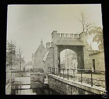 Glass Magic lantern slide BRUGES BEGUINAGE CIRCA WW1 BELGIUM