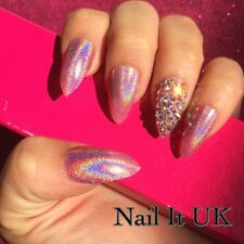 Hand Painted Full Cover False Nails. Stiletto Swarovski Pink Nails. 24 Nail