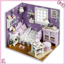 DIY Wooden Dollhouse Miniature Kit w/ Cover /LED Light Dollhouse All Furnitures