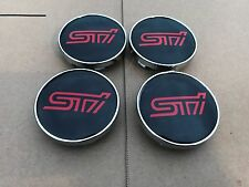 NEW 4 PC SET SUBARU STI RED BLACK CENTER WHEEL LOGO HUB 60MM COVER CAPS EMBLEM