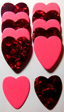 12pk Valentines Heart Shaped Guitar Picks .71mm Celluloid Medium Mixed Colors