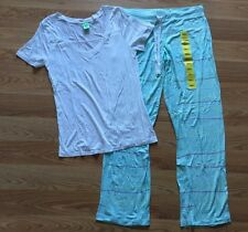 NEW Women's HONEYDEW INTIMATES White Green Light Weight PJ Set Pajamas Pants S