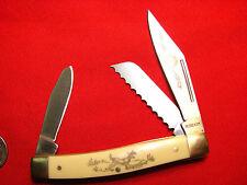 SCHRADE BUCK DEER  SCRIMSHAW  3 blade stockman 8OT SENIOR   rare serrated 0622 2