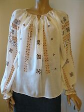 Vintage hand embroidered Romanian blouse , ethnic top , beige /brown M size