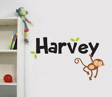 Jungle Monkey Personalised Name Girls Boys Children's Wall Sticker Decal Vinyl