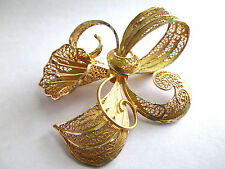 VINTAGE FILIGREE BROOCH with ORIG. BOX - MADE IN PORTUGAL