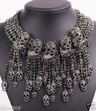 Newest Design huge Lady Statement Exorcism skull chunky chain charm necklace 972