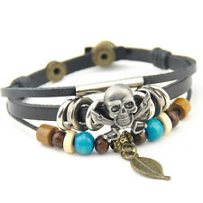cool Pirate Skull pendant wood beads leather bracelet SL334