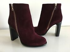 RAG & BONE BURGUNDY SUEDE AVERY ANKLE BOOTS, SIZE 37.5