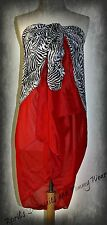 """Wild Zebra Print With Red Sarong Wrap, 65"""" x 34.5"""" NEW IN BAG"""