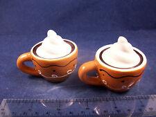 Cracker Barrel Mini Lite Brown Cocoa Cup Novelty Salt & Pepper Shakers CB105B22