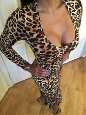Connie's Long Sleeve Leopard print midi dress with front slit S