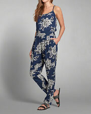NWT Abercrombie & Fitch  Strappy Floral Jumpsuit Blue Size Large