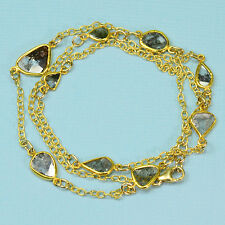 18K Solid Yellow Gold Rustic Diamond Slices Bezel Station Necklace 18 Inch