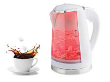 NEW PORTABLE ELECTRIC KETTLE RED LED ILLUMINATED 1.7L 360° CORDLESS WHITE
