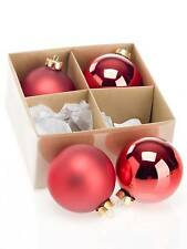 BOX N.4 PALLE-PALLINE NATALE in VETRO SOFFIATO COLOR ROSSE MM.100 SAT/LUC 111801