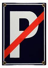 Emaille Schild kein Parkplatz rot durchgestrichen Verkehrsschild 17x12cm neu