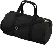 "BLACK Canvas Sports Gym Duffle Carry Shoulder Bag & Strap - 19"" 2221"