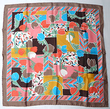 Vtg Liberty Of London Silk Scarf Abstract Floral Tulips 26 Inch Hand Rolled Edge