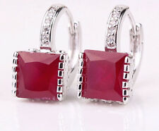 14k White Gold Platinum GP Earrings Cubic Zircon Crystal Ruby Red Stone Jewelry