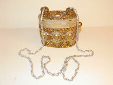 MARY FRANCES Gold Beaded Hard Shell Handbag Evening Bag Purse Chain Strap