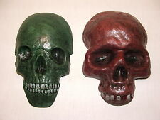 A PAIR OF SKULL WALL PLAQUES. LATEX MOULD/MOULDS/MOLD