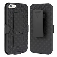 Apple iPhone 5/5S/ SE Case, Shell Holster Combo Case with Kick-Stand & Belt Clip