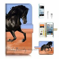 iPod Touch 5 iTouch 5 Flip Wallet Case Cover P3306 Black Horse