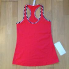 Lululemon Run Cool Racerback Stripes Sea WheeZe Seawheeze 2014 Size 8 NWT