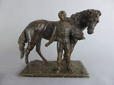 ANCIENNE STATUE REGULE HOMME ET CHEVAL JOCKEY 1900 DEBUT 20EME SIECLE