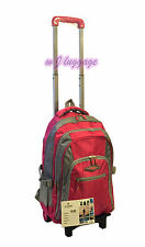 Rolling Wheeled Backpacks Carry-ons Trolley School Bag Laptop Backpack (Rose)